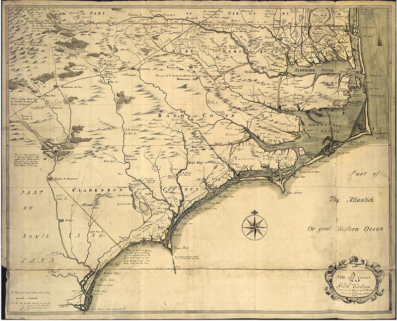 1737 map of North Carolina