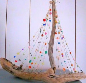 Sea Glass Driftwood Sailboat