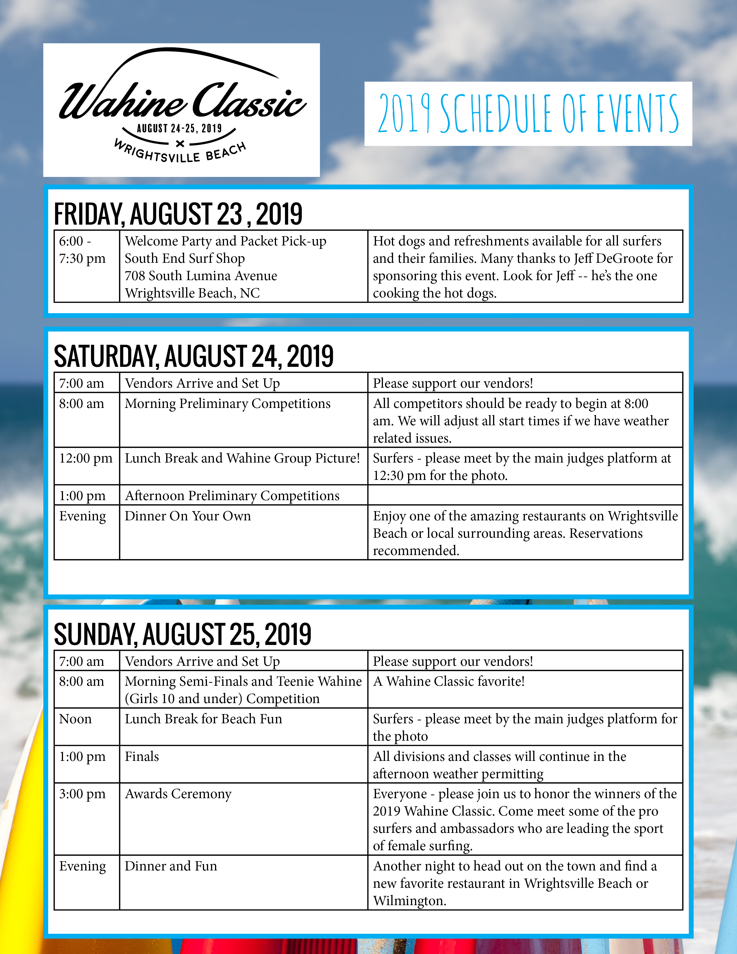 Wrightsville Beach Wahine Classic Surfing Competition schedule_of_events_2019