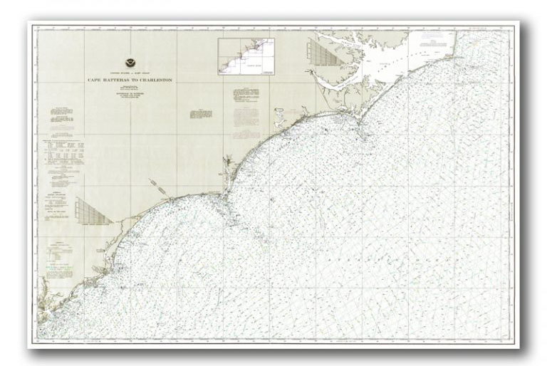 North-Carolina-Coast-Nautical-Chart Giclée Prints