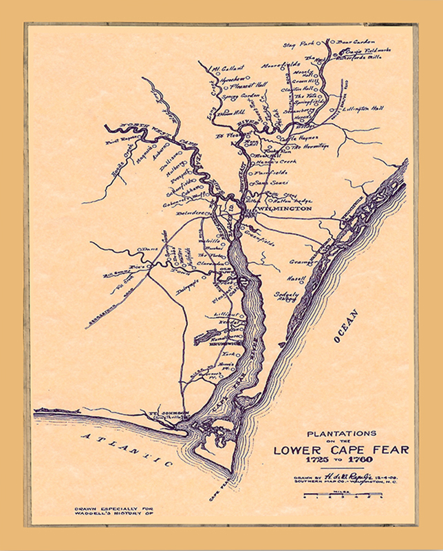 Map of Plantations-of-the-Lower-Cape-Fear-Map