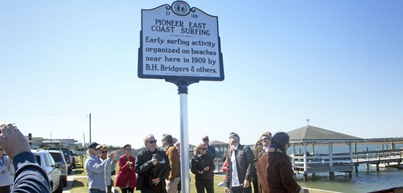 """Historical Marker designating Wrightsville Beach as a """"Pioneer of East Coast Surfing"""""""